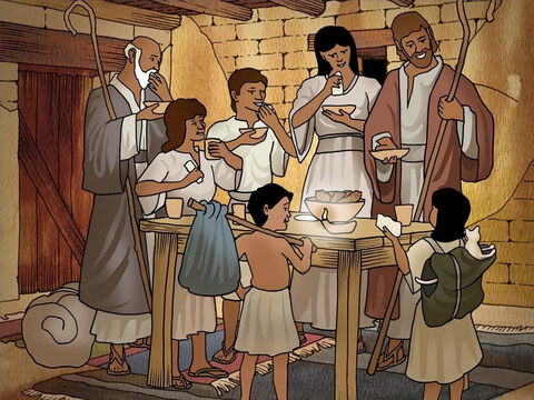 As the death angel passed over they were to have a quick meal and be prepared to leave Egypt. The meal was called the Passover. God asked them to annually celebrate this meal to remember how God saved them. Exodus 12. – Slide 5