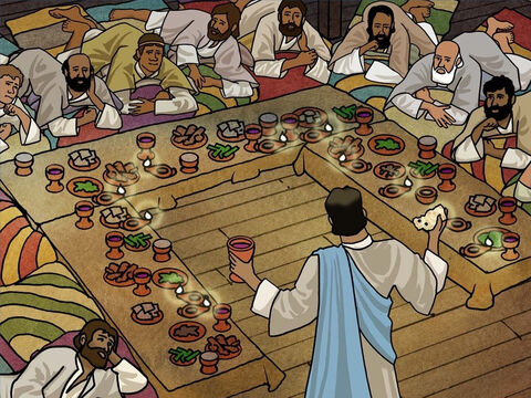 'And in the same way He took the cup after they had eaten, saying, 'This cup which is poured out for you is the new covenant in My blood.' Luke 22:20. Today we remember Jesus by this portion of the Passover that we call Communion. – Slide 11