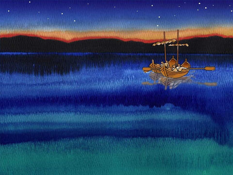 On the Sea of Galilee, near Capernaum, four fishermen fished all night without catching anything. They gave up and rowed ashore. The names of the fishermen were Simon (later named Peter), Andrew, James and John. – Slide 2