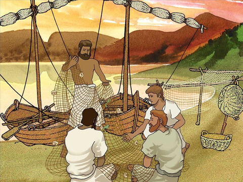 On shore the fishermen cleaned their nets. As the fishermen worked, a large crowd was growing and pressing in on Jesus. Jesus noticed the men cleaning their nets and proceeded to go toward their boats. – Slide 3
