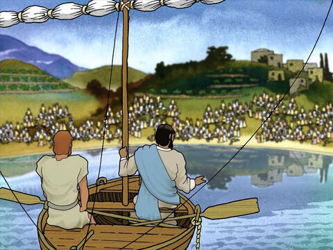 Jesus asked Peter to take Him in the boat and row a short distance from land. Then Jesus spoke to the people and taught them about God and His kingdom. Even though Peter was tired he listened carefully to Jesus' words. – Slide 4