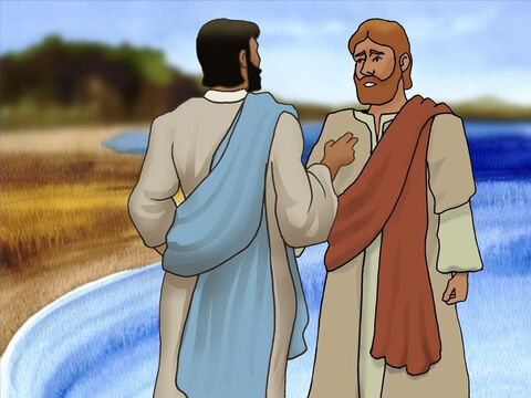 When Jesus was done speaking to the crowds He told Peter to go back fishing. Peter grumbled, '...Master, we worked hard all night and caught nothing...' He also had great respect for Jesus, so he rowed out again. – Slide 5