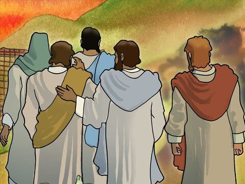 Then Jesus challenged the four fisherman. Jesus asked Peter, Andrew, James and John to follow Him. They had no idea where Jesus was going but they followed. Jesus asks us all to follow Him. (Mark1:16-20) – Slide 10