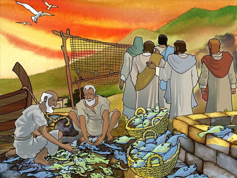 When these men followed Jesus they left many things behind. James and John left their father, the servants and all those fish. The fish were not as important as the great adventure they were going to take with the Son of God. – Slide 11