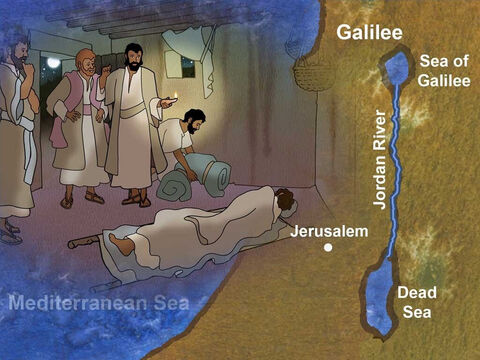Jesus was in one of the cities of Galilee. Word of Jesus' powers to heal and His wonderful teaching spread throughout all of Israel. People traveled from as far away as Jerusalem to see and witness Jesus' power first hand. – Slide 1