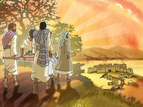 At that same time a man suffered because he could not walk. He had some very good friends who wanted to see him healed. They organised themselves and took the man to Jesus on a stretcher. – Slide 2