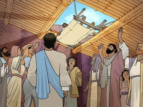 Fortunately the paralysed man's friends did not let this stop them from helping their friend to see Jesus. They all went up to the roof of the house. Then they took apart the ceiling to lower the paralysed man down to Jesus. – Slide 4