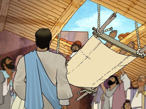 Now everyone saw the crippled man in the middle of the room. Jesus saw something else that no one else saw. Jesus saw the man's sin and faith. So Jesus said, 'Friend, your sins are forgiven.' – Slide 5