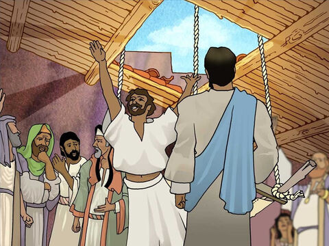 Then Jesus said; 'So that you may know that the Son of Man has authority on earth to forgive sins …' Then He said to the paralysed man- 'I say to you, get up, and pick up your stretcher and go home.' And he got up! – Slide 8