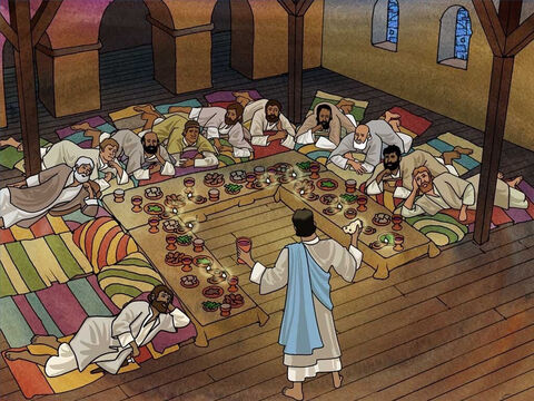During the Passover meal Jesus prayed with His disciples. He taught them of His approaching death. He encouraged them and gave them the last supper (Matthew 26:26-29). Jesus commanded them to love one another as He loved them. (John 13:34) – Slide 5