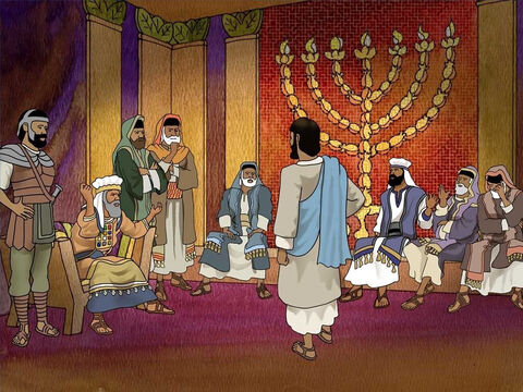 Caiaphas and religious leaders kept trying to obtain false testimony against Jesus, so they could put Jesus to death. They found Him guilty of blasphemy. The Jewish law's penalty for blasphemy is death. (Matthew 26:57-68) – Slide 10