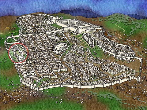 Only the Romans could put Jesus to death. So the soldiers and priests took Jesus to the Roman ruler called Pilate. Pilate was visiting Jerusalem from Caesarea and staying in the Praetorium (the old palace of the once ruler, Herod the Great). – Slide 11