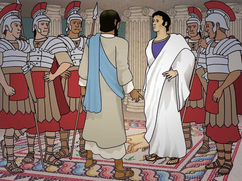 The Jews brought Jesus to Pilate hoping that he would follow through with their plan to put Jesus to death. The Jews, in order to deceive Pilate and make Jesus out to be a traitor, lied to Pilate. Pilate could find no guilt in Jesus. (Luke 23:1-7) – Slide 12