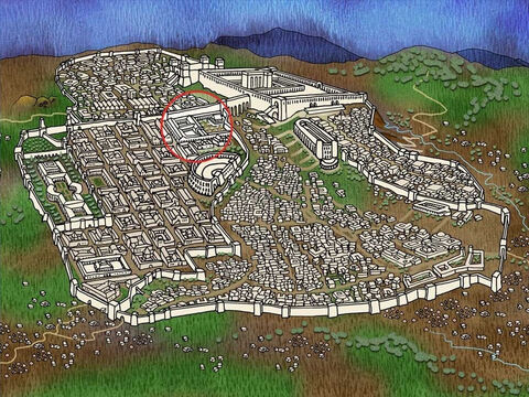 When Pilate learned that 'Herod the Tetrarch', (Herod The Great's son) governor over the Galilee area, was in Jerusalem, Pilate had the soldiers take Jesus to Him. Pilate was hoping Herod the Tetrarch would take care of this matter for him. (Luke 23:6-7) – Slide 13