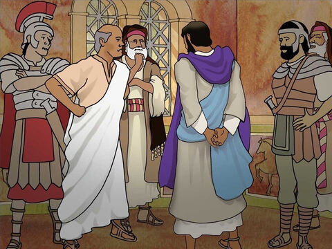 Herod was glad to see Jesus because he had heard of Jesus' miracles. He was hoping that Jesus would preform a miracle for him. Jesus knew Herod's wicked heart and would not perform a miracle for him. So Herod mocked Jesus and gave Him a purple robe. (Luke 23:8-11) – Slide 14