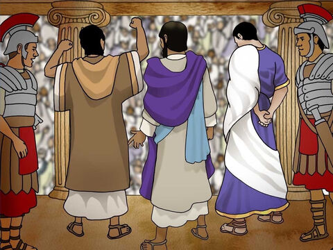 Pilate asked the Jews what Jesus did wrong. They said Jesus was an evildoer. It was the Roman custom to release one prisoner during the Passover. The crowd shouted to Pilate for the release of Barabbas instead of Jesus. (John 18:29-40) – Slide 16