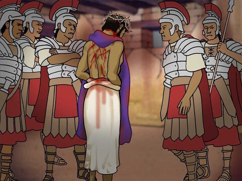 Pilate gave Jesus over to the soldiers. The soldiers took Jesus aside and scourged Him. They twisted together a crown of thorns and put the purple robe on Him. They yelled, 'Hail, King of the Jews' and slapped Him in the face. (John 19:1-3) – Slide 17