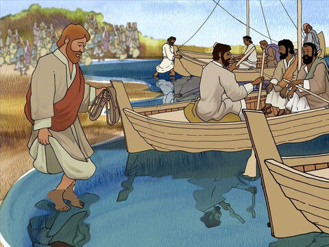 After speaking to the crowd, it was time for Jesus to leave. He told His disciples to prepare to travel to the other side of the Sea of Galilee. This way they could escape the large crowds following them. – Slide 2