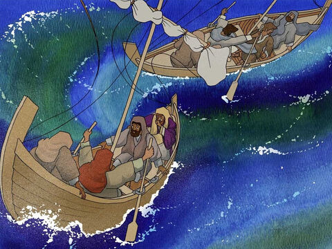 As they set off across Galilee the weather was calm. Quickly and without warning a violent storm erupted putting the small boats in grave danger. Some of the men were experienced fishermen so they tried to control the boats. – Slide 6