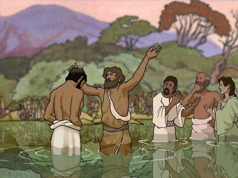Jesus came to John The Baptist. When John saw Jesus he said to everyone: 'Behold, the Lamb of God who takes away the sin of the world!' John 1:29. Jesus never sinned (Hebrews 4:15). Jesus did not need to repent but He asked John to baptize Him. – Slide 4