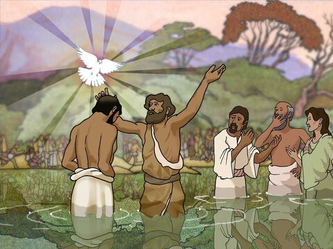 John baptized Jesus and then the heavens were opened and the Spirit of God descended as a dove alighting on Jesus and a voice out of heaven said, 'This is My beloved Son, in whom I am well-pleased.' – Slide 5