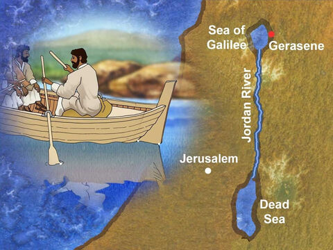 Jesus with His disciples traveled by boat across the Sea of Galilee to the region of the Gerasenes. At this time much of this area was inhabited by Gentiles (Romans, Greeks and Syrians). – Slide 1