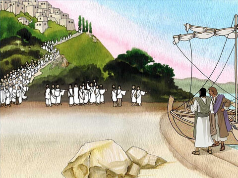 The men taking care of the pigs ran back to the city and told everyone what happened. Crowds went down to the sea shore to see Jesus and the once mad man. By Jesus power the mad man was totally different. – Slide 7
