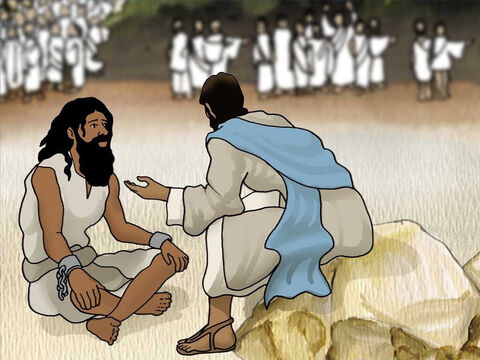 The once-mad man was sitting down, clothed, and in his right mind. This was too much change for them and they became frightened. They asked Jesus to leave because they could not understand what had happened. – Slide 8