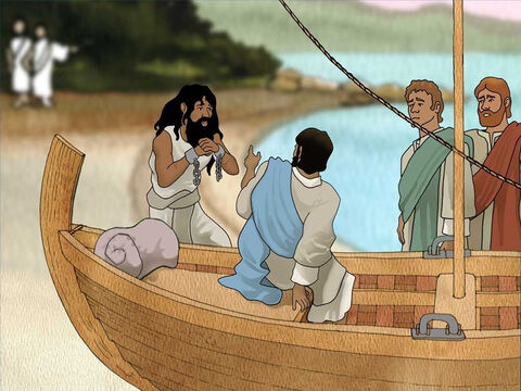 Jesus came to seek out the mad man and save him. He completed His work and started to leave as they requested. The man who had been demon possessed begged Jesus to let him go with them. – Slide 9