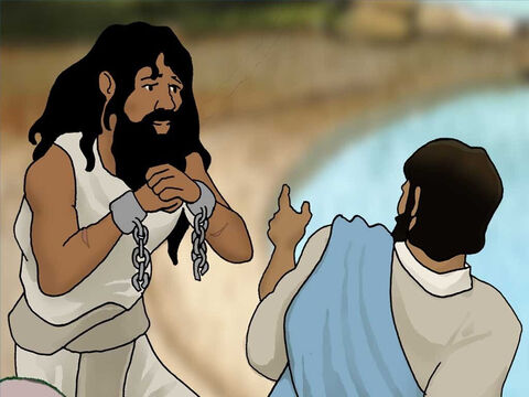 Instead Jesus said to him, 'Go home to your people and report to them what great things the Lord has done for you, and how He had mercy on you.' – Slide 10