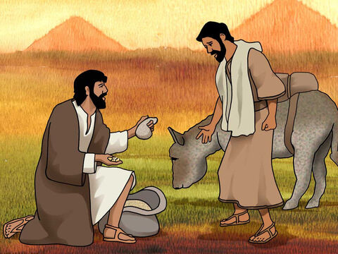 As one of them opened his sack to give his donkey fodder at the lodging place, he saw his money; and behold, it was in the mouth of his sack. Then he said to his brothers, 'My money has been returned, and behold, it is even in my sack.' They all trembled in fear. Genesis 42:27-28a (NASB) – Slide 8