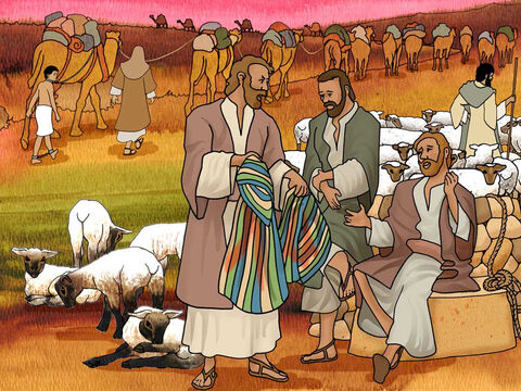 Judah said to his brothers, 'What profit is it for us to kill our brother and cover up his blood? Come and let us sell him to the Ishmaelites and not lay our hands on him, for he is our brother, our own flesh.' And his brothers listened to him. <br/>Some Midianite traders passed by, so they pulled him up and lifted Joseph out of the pit, and sold him to the Ishmaelites for twenty shekels of silver. Thus they brought Joseph into Egypt. Genesis 37: 26-28 (NASB) – Slide 6