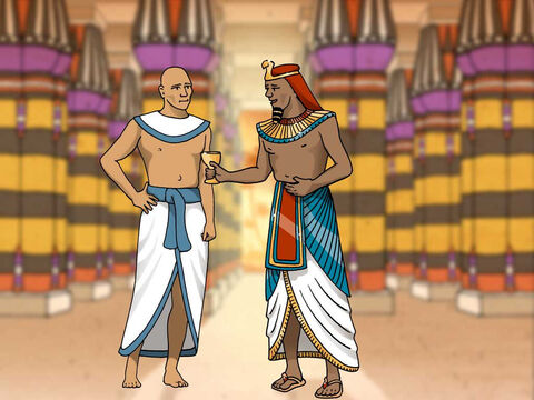 Pharaoh was very upset concerning the dreams. None of the Egyptian magicians could interpret the dream for Pharaoh. Then the chief cupbearer told Pharaoh how Joseph interpreted both his and the baker's dreams. God spoke the correct interpretation of the dreams through Joseph. (Genesis 41:9-13) – Slide 15
