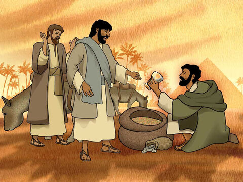 Then they hurried, each man lowered his sack to the ground, and each man opened his sack. He searched, beginning with the oldest and ending with the youngest, and the cup was found in Benjamin's sack. Then they tore their clothes, and when each man loaded his donkey, they returned to the city. Genesis 44:11-13 (NASB) – Slide 9