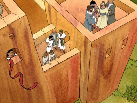 Then she let them down by a rope through the window, for her house was on the city wall. Joshua 2:15 (NASB). <br/>The men told her to tie a scarlet thread on that same window and at the time of invasion gather her family in her home and they would not injure anyone there. Joshua 2:17-21 – Slide 8
