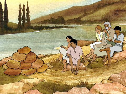 "When your children ask later, saying, ""What do these stones mean to you?"" then you shall say to them, ""Because the waters of the Jordan were cut off before the ark of the covenant of the Lord; when it crossed the Jordan, the waters of the Jordan were cut off.' So these stones shall become a memorial to the sons of Israel forever."" Joshua 4:6b-7 (NASB) – Slide 14"