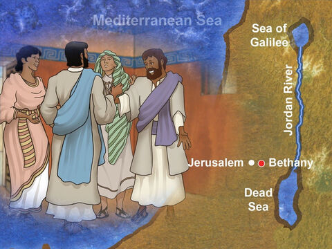 Just a short distance outside Jerusalem, in a village called Bethany, lived a family of siblings that welcomed Jesus. Their names were Mary, Martha and Lazarus. Jesus deeply loved each member of this family. – Slide 1