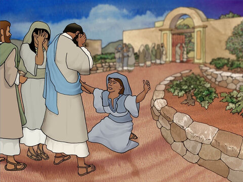 When Mary came to Jesus she fell at His feet. 'Lord if You had been here, my brother would not have died,' she cried. When Jesus saw her along with others weeping He was deeply moved. Jesus wept. – Slide 11
