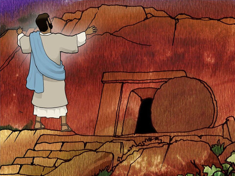 At Lazarus' tomb. Jesus raised His eyes and said, 'Father, I thank You that You have heard Me, I knew that You always hear Me; but because of the people standing around I said it, so that they may believe that You sent Me.' – Slide 12