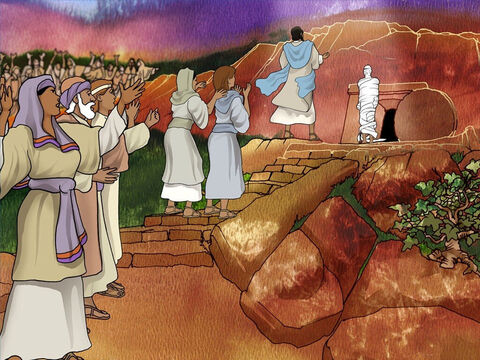 Many of the Jews who came to comfort Mary and Martha because of the death of their brother were now rejoicing with them that Lazarus was alive. They believed in Jesus. Some did not believe. – Slide 14