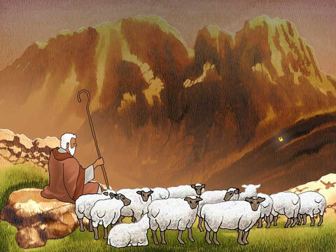 After forty years as a shepherd, '... Moses was pasturing the flock of Jethro his father-in-law, the priest of Midian; and he led the flock to the west side of the wilderness and came to Horeb, the mountain of God.' Exodus 3:1 (NASB) – Slide 1
