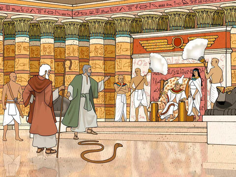 """Now the Lord spoke to Moses and Aaron, saying, 'When Pharaoh speaks to you, saying, """"Work a miracle,"""" then you shall say to Aaron, """"Take your staff and throw it down before Pharaoh, that it may become a serpent.""""' Exodus: 7:8-9. Pharaoh's magicians duplicated this with two more snakes but Aaron's staff swallowed up those snakes. – Slide 9"""