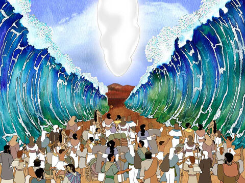 '… and the Lord swept the sea back by a strong east wind all night and turned the sea into dry land, so the waters were divided. The sons of Israel went through the midst of the sea on the dry land, and the waters were like a wall to them on their right hand and on their left.' Exodus 14:21b-22 – Slide 4