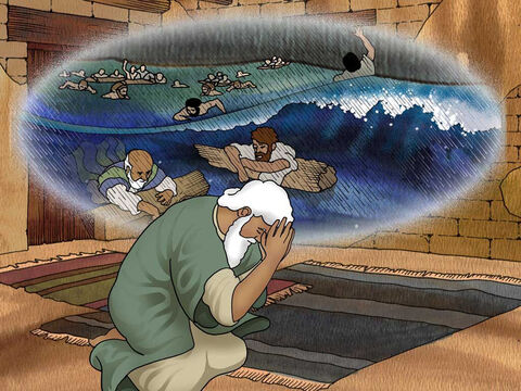 'Behold, I, even I am bringing the flood of water upon the earth, to destroy all flesh in which is the breath of life,… But I will establish My covenant with you; and you shall enter the ark—you and your sons and your wife, and your sons' wives with you.' Genesis 6:17a,18 (NASB) – Slide 6