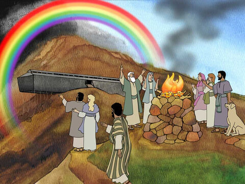 God was grateful with Noah's offering. He made a covenant with mankind and all flesh (Genesis 8:22-9:17). Then God placed the rainbow in the sky to remind His creation that He would never do this to the earth again. – Slide 16