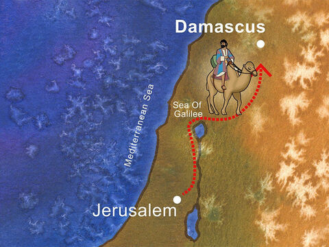 Saul, an aggressive persecutor of Christians, was encouraged by the Temple priests in Jerusalem to go to Damascus and persecute more Christians.(Acts 9:1-2). – Slide 1