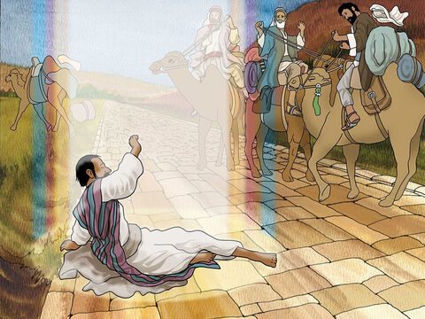 Suddenly, God stopped Saul during his trip and said: 'Saul, Saul, why are you persecuting Me?' Saul was shocked and struck blind. He had to be led as a blind man to Damascus. (Acts 9:3-7). – Slide 2