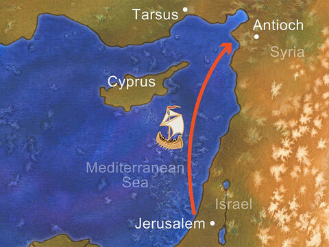 Far to the north of Jerusalem was the gentile city of Antioch. In Antioch many Jews and gentiles who loved Jesus met and started a church. Paul probably traveled by boat from Jerusalem to Antioch to visit this church. – Slide 6