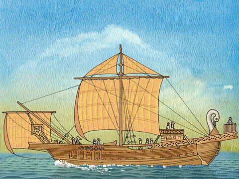 There they boarded a ship sailing to the large Island of Cyprus in the Mediterranean Sea. – Slide 10