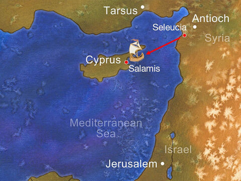When they reached Salamis, they began to proclaim the word of God in the synagogues of the Jews. – Slide 11